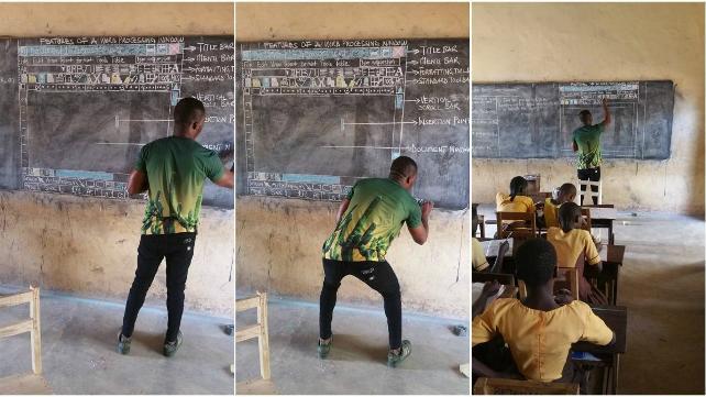 Kara tahtada bilgisayar öğreten öğretmene Microsoft'tan bilgisayar sözü